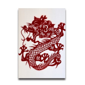 Chinese Dragon Paper Cutting Art Print Funny Poster For Home Room Decor