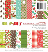 American Crafts 733367 Paper Pad Pebbles Holly Jolly 15cm X 15cm 36 Sheet Paper Pad