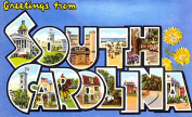 South Carolina Greetings Reproduction Luggage Decal 7.6cm x 13cm