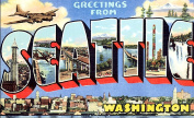 Seattle Greetings Reproduction Luggage Decal 7.6cm x 13cm