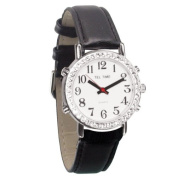 Mens Talking Watch with Rhinestone Bezel and Leather Band - Spanish
