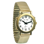Mens Tel-Time Gold-Tone-Coloured Talking Watch with White Dial-Expansion Band