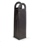 Bey Berk Black Leatherette Bottle Caddy with Handles