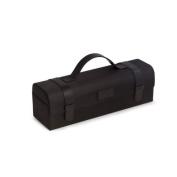 Bey Berk Black Ballistic Nylon & Leatherette Bottle Caddy