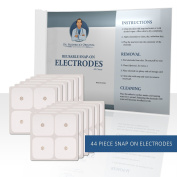 Dr. Frederick's Original 5.1cm x 5.1cm Snap-On Reusable Self-Adhesive TENS Unit Electrodes - 44 Pack - Heavy Gauge Leads - Pre-gelled for Multiple Uses - TENS - FES - NMES