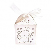 Tinksky 50pcs Hollow Out Elephant Pattern Candy Boxes Gift Bags Baby Shower Wedding Favours