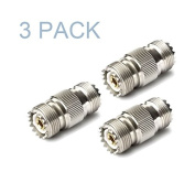 Maxmoral 3-Pack PL-259 UHF Female to UHF Female Coax Cable Adapter RF UHF-KK S0-239 Connector Plug