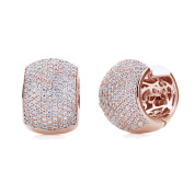 Sterling Silver 14K Rose Gold Plated Round Cubic Zirconia Pave Set Domed Huggie Hoop Earrings