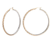 G & H Two-Tone Sterling Silver Gold Plated 60mm Click-Top Hoop Earrings with Inside and Out Diamond Cut