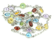 Multi-colour Gemstones 41cm Necklace 14k White Gold Chain with Lobster Lock