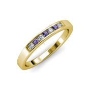 Iolite and Diamond (SI2-I1, G-H) 7 Stone Wedding Band 0.35 ct tw in 14K Yellow Gold