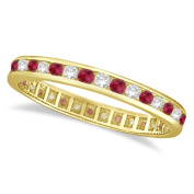1.04ct Ruby and Diamond Channel Set Ring Eternity Band 14k Yellow Gold