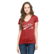 United States Women's '47 Vintage V-Neck Scrum Tee, Rescue Red, X-Large