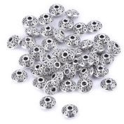 Mudder 100 Pieces 6 mm Antique Silver Spacer Beads European Style Beads for Jewellery Making