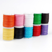 10 Rolls Mixed Colour 1mm Waxed Cotton Thread Cord String Beading Thread Durable DIY Bracelet Waxed Cords Strings Thread