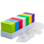 Pill Organiser Box Weekly Case with Pill Splitter Cutter - Premium Design - Large Travel Medication Reminder Daily Am PM, Day Night Compartments 7 days - Medicine Dispenser Twice, 3, 4 Times a Day