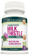 JBI Advantage Milk Thistle Silybum Marianum Capsules 4X Extract Helps Cleanse & Detox Liver 1000 mg per Serving Herbal Supplement