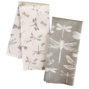 Karma Tea Towels, Dragonfly (Set of 2), Grey