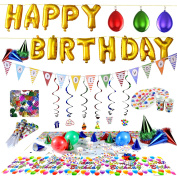 Birthday Party Supplies and Party Decorations All-in-One Pack with Foil Balloons by Joyin Toy