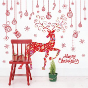 Merry Christmas Reindeer Wall Stickers Wall Decals PVC Removable Window Stickers for Xmas Party Decorations