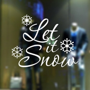 """Let It Snow"" Xmas Christmas White Snow Wall Stickers Wall Decals Removable PVC Window Stickers"