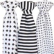 Muslin Swaddle Blanket - 3 Pack, Black + White - Ziggy Baby 120cm x 120cm Cross, XO & Stripe Patterns