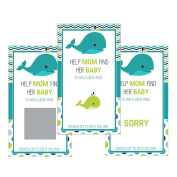 Set of 12 Scratch Off Game Cards for Baby Shower Games with Nautical Aqua Whale SC200