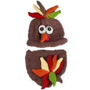Jastore Photography Prop Baby Infant Costume Turkey Crochet Knitted Hat Nappy