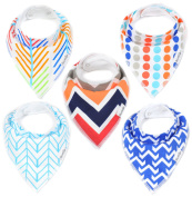 """Baby Bandana Drool Bib Gift Set (5-Pack) for Boys """"Tangled Up In Blue Set"""" by Oma & Opa"""
