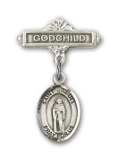ReligiousObsession's Sterling Silver Baby Badge with St. Samuel Charm and Godchild Badge Pin
