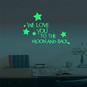 """Marsway """"WE LOVE YOU TO THE MOON AND BACK"""" Letters Glow Sticker Removable Luminous Night Wall Decal Sticker for Room"""
