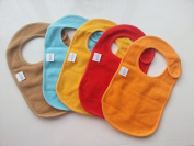Baby Bibs with Snaps Solid Colours (5 Pack) by Kohars. 100% Cotton Absorbent Reversible Unisex Teething Dribble Bibs. Perfect for Newborn Infant Toddlers & Baby Shower and Gift Basket