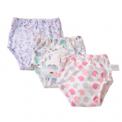 Babyfriend Baby Girls' Toddler Washable 3 Pack Training Pants Kids Potty Cloth Nappy Nappy Underwear