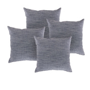 Deconovo Stripe Pattern Faux Linen Pillow Case Woven Throw Pillow Cover Pillow Shams for Couch 46cm x 46cm Navy Blue and White Melange Set of 4