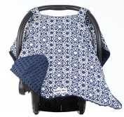 Carseat Canopy with Navy Minky - Best Car Seat Canopy for Popular Baby Carseat Models. Breathable Soft Navy Minky Fleece Fabric.