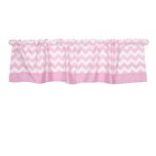 Pink Chevron Print Window Valance by The Peanut Shell - 100% Cotton Sateen
