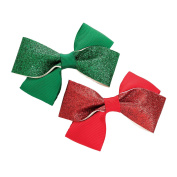 GIZZY® Girls Two Piece Green and Red Glitter Christmas Design Hair Bow Set.