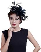 Fancyland Women Satin FeatherFascinators Bride Flowers Hair Clips Barrettes Hairdress Accessory