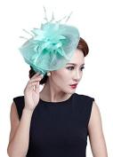 Fancyland Women Feather Fascinators Bride Net Feather Flowers Hair Clips Barrettes Hairdress