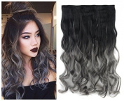 """24"""" (60cm) 110G Natural Black to Dark Grey 2-tone Ombre Colour Curly Clip in Hair Extensions One Piece 5Clips for a Full Head"""