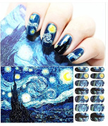 Starry Night Romantic Self Adhesive Patterned Full Nail Sticker Nail Art Stickers Water Transfer Decals Decorations Great for Star Wars Fans