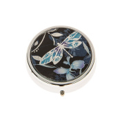 Dragonfly and Flowers Circular Pill Box