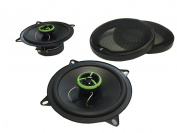 "XtremeAuto® 2 x 5.25"" (13cm diameter), 500 Watt, 2 WAY Coaxial Car speaker set. BLACK / GREEN with speaker grilles."