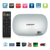 New EMISH 4K Octa Core RockChip 3368 64Bit 16G Flash DDRIII 2GB Android 5.1 Smart TV Box, Game Player with KODI Fully Loaded, Wifi Bluetooth Functions, Internet Streaming Media Player, Silvery