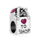 Uniqueen Antique Shopping Bag Heart Love To Shop Purple Rhinestone Crystal Beads For Bracelet