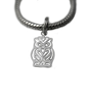 Solid Silver 925 owl charm bead compatible with branded bracelet