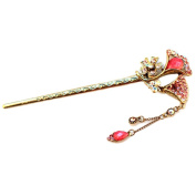 Retro-fashionable fringed rhinestone hairpin