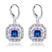 Quality Silver Tone Hoop with Square Drop Sapphire Blue and Clear AAA CZ Drop Earrings