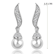 Quality Costume Silver and Crystal Angle Wing Pearl Drop Earring Bridal Wedding