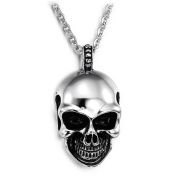 Jewow Jewellery Stainless Steel Men's Boy's Skull Pendant Necklace 60cm Chain